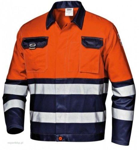 Bluza robocza ostrzegawcza MISTRAL SIR w kolorze pomarańczowo- granatowym z pasami odblaskowymi