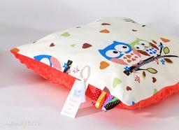 MAMO-TATO Poduszka Minky dwustronna 40x60 Sówki kremowe D / czerwona pomarańcza