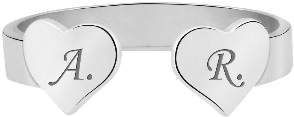 Pierścionek uniwersalny dwa serca z inicjałami srebro 925 Grawer