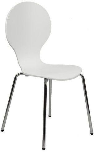 Krzesło ze sklejki w kolorze białym, stelaż chromowany. Model TDC-122. - Stema