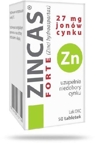 Zincas forte 27 mg jonów cynku (150 mg cynku) 50 tabletek