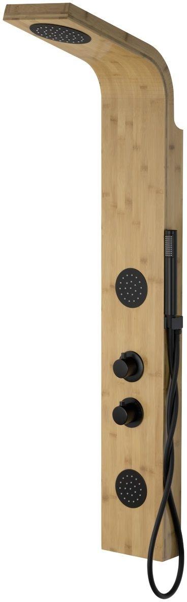 Corsan Bali panel prysznicowy z termostatem czarny drewno bambusowe B-231TCZ