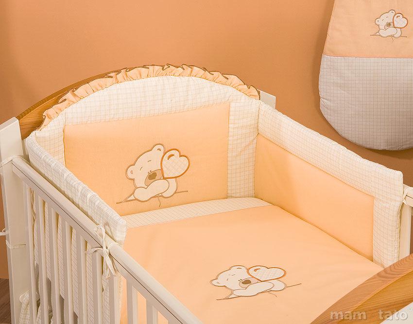 MAMO-TATO pościel 2-el Miś z serduszkiem brzoskwiniowy do łóżeczka 60x120cm