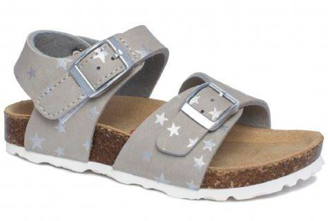 EMEL E1903-5 sandały, sandałki z skóry ekologicznej fusbet, korek dla dziewczynek - popiel w gwiazdki