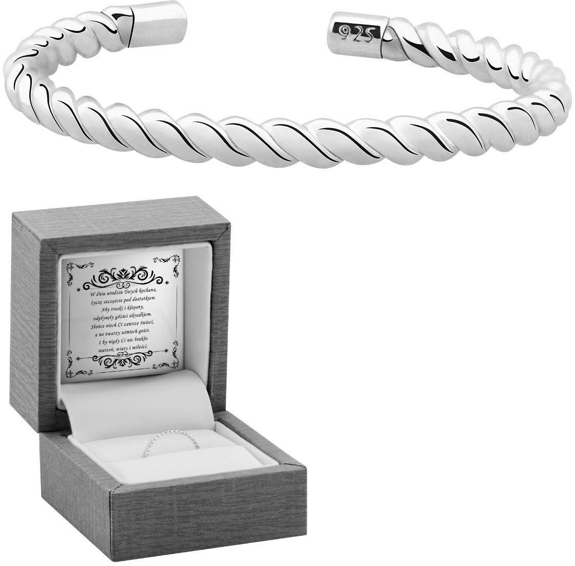 Pierścionek uniwersalny splot sznurek srebro 925 Dedykacja