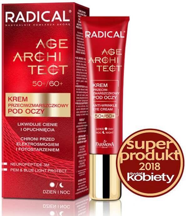 RADICAL AGE ARCHITECT 50+/60+ Krem przeciwzmarszczkowy pod oczy likwidujący cienie i opuchnięcia, 15ml