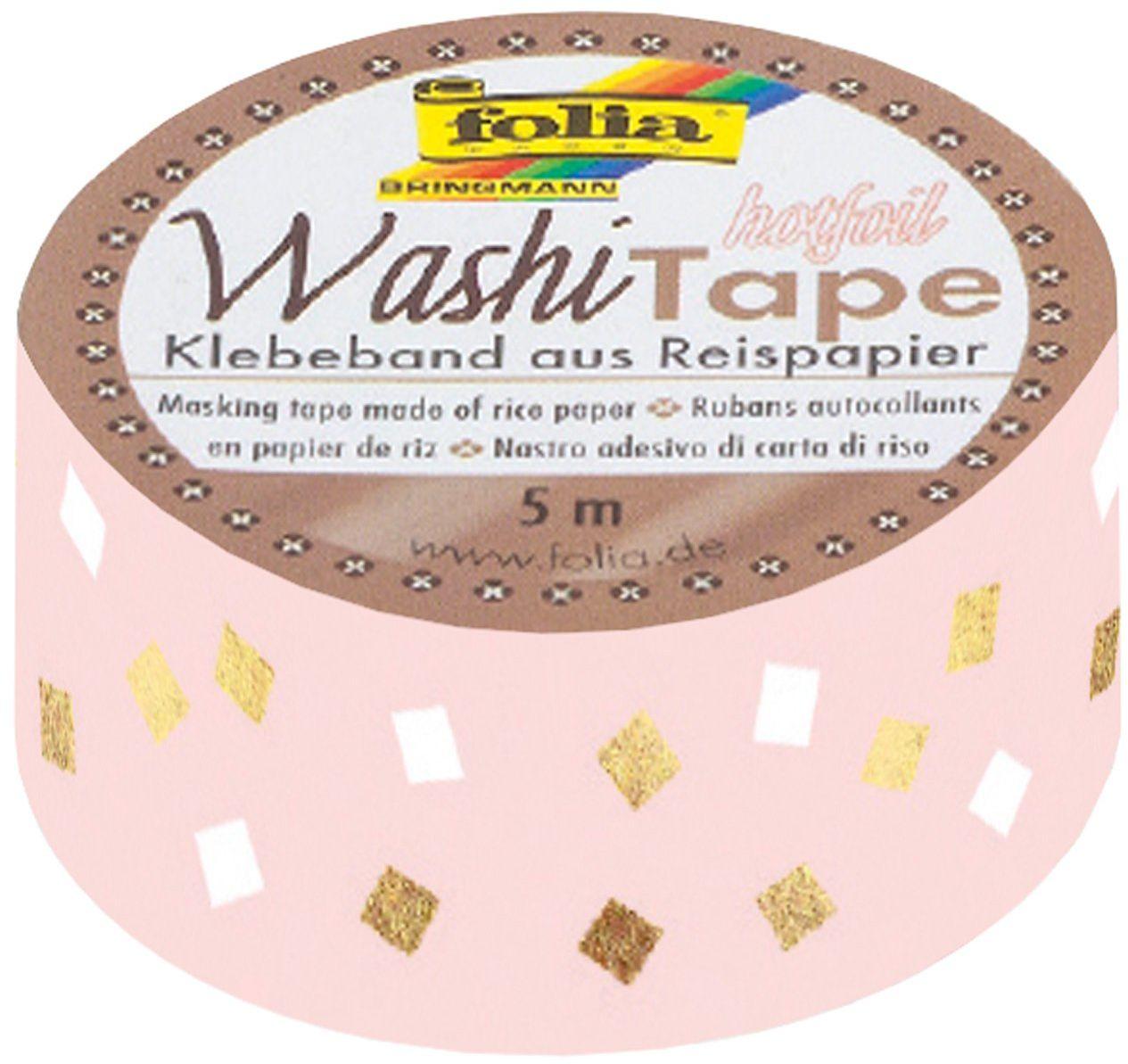 Folia 26109 - taśma Washi, taśma klejąca z papieru ryżowego, Hotfoil złoty czworokątny, 1 rolka ok. 5 m x 15 mm - idealna do ozdabiania i dekorowania