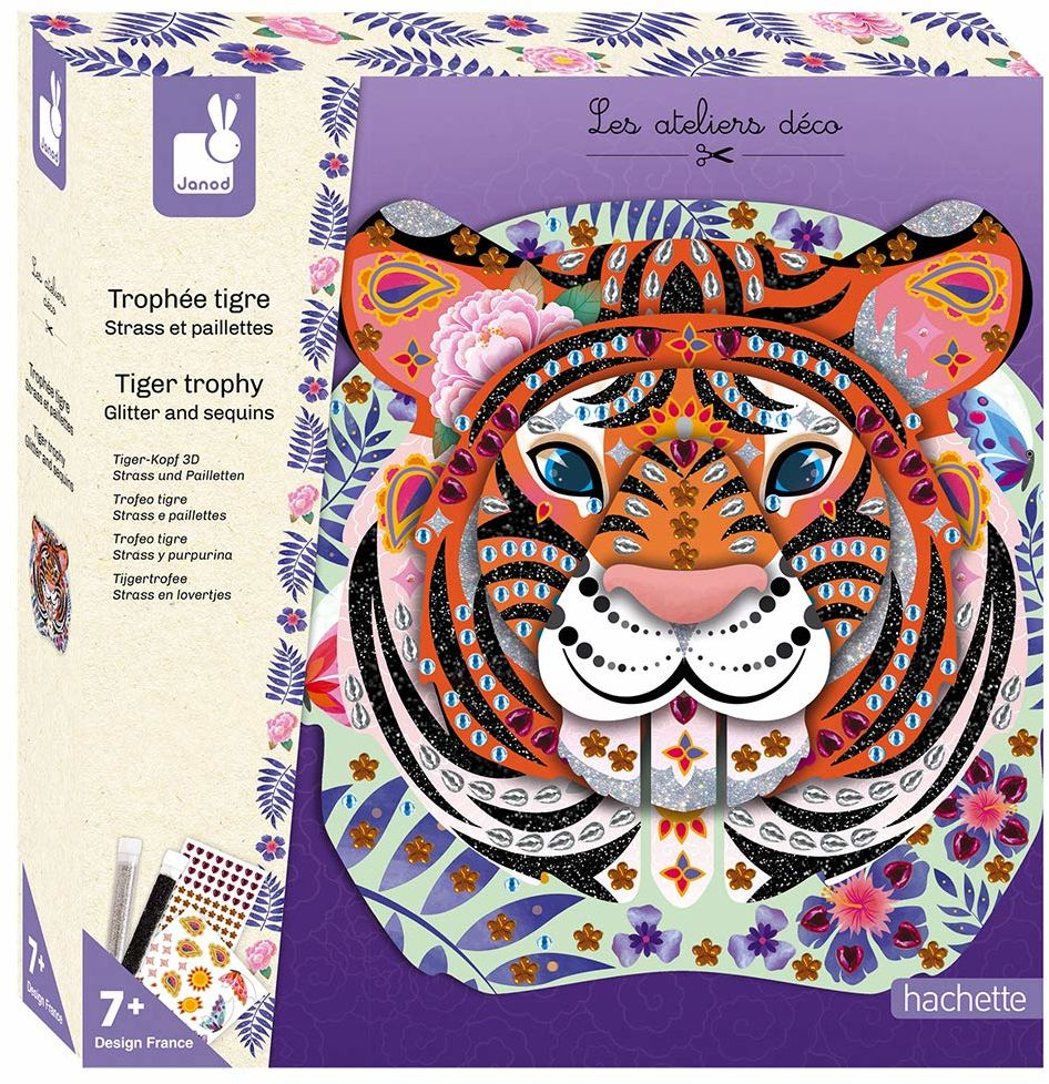 Janod J07915 kreatywne rękodzieło z kryształkami i cekinami tygrysie trofeum