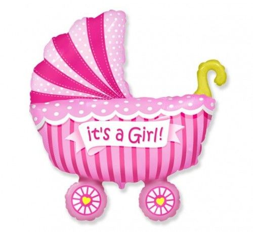 """Balon foliowy 14"""" FX Wózek dziecięcy dla dziewczynki, różowy"""
