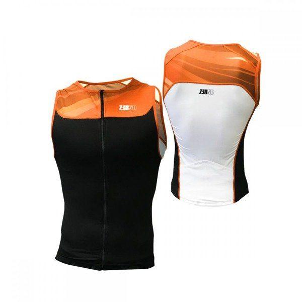 ZEROD Koszulka triathlonowa START TRISINGLET czarno-pomarańczowa