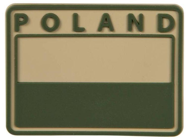 Emblemat velcro Helikon flaga Polska PVC gaszona Khaki (OD-FP4-RB-13) H
