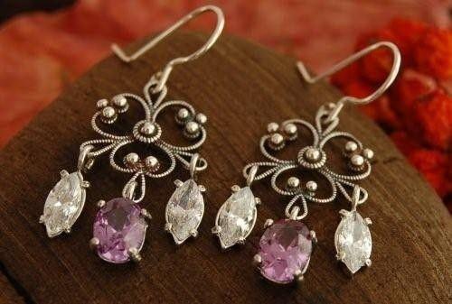 Ranga - srebrne kolczyki z ametystem i kryształkami