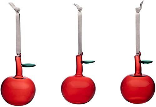 Iittala Oiva Toikka szklany jabłko, szkło, czerwony/zielony, Ø 8,9 cm wysokość 6,4 cm