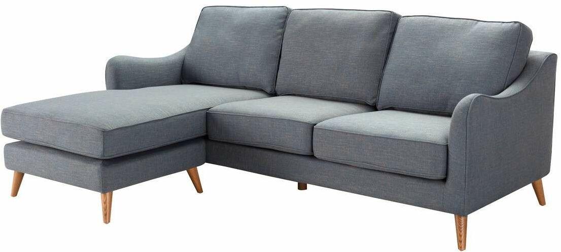 Sofa narożna Venuste denim blue/brown, 227 x 160/88 x 90 cm