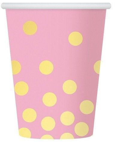 Kubeczki różowe w złote kropki 270ml 6szt PF-KPZGR
