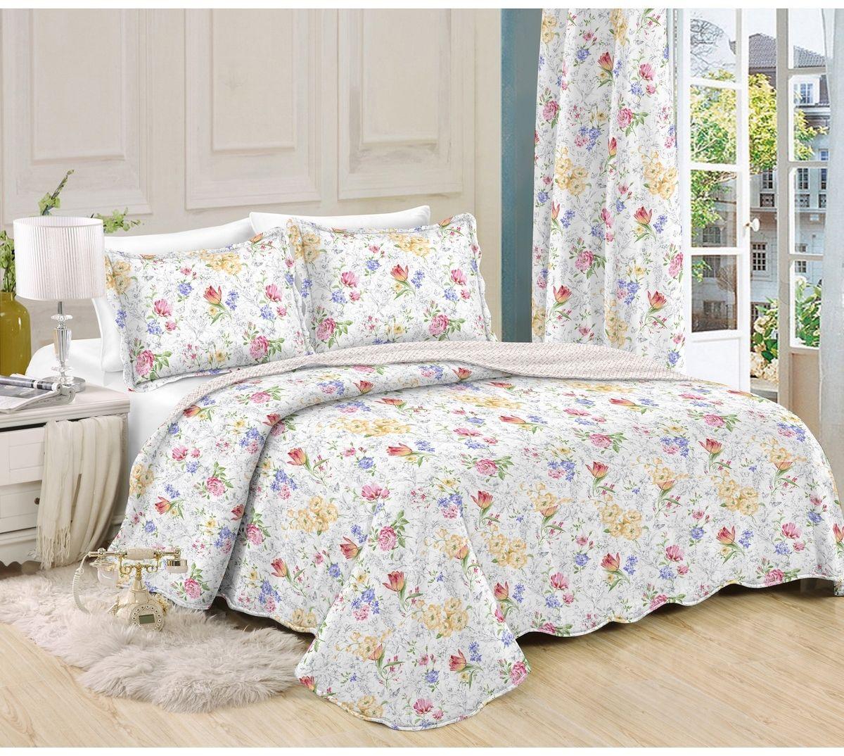 Narzuta na łóżko Kwiaty, 140 x 200 cm, 1 szt. 50 x 70 cm, 140 x 200 cm