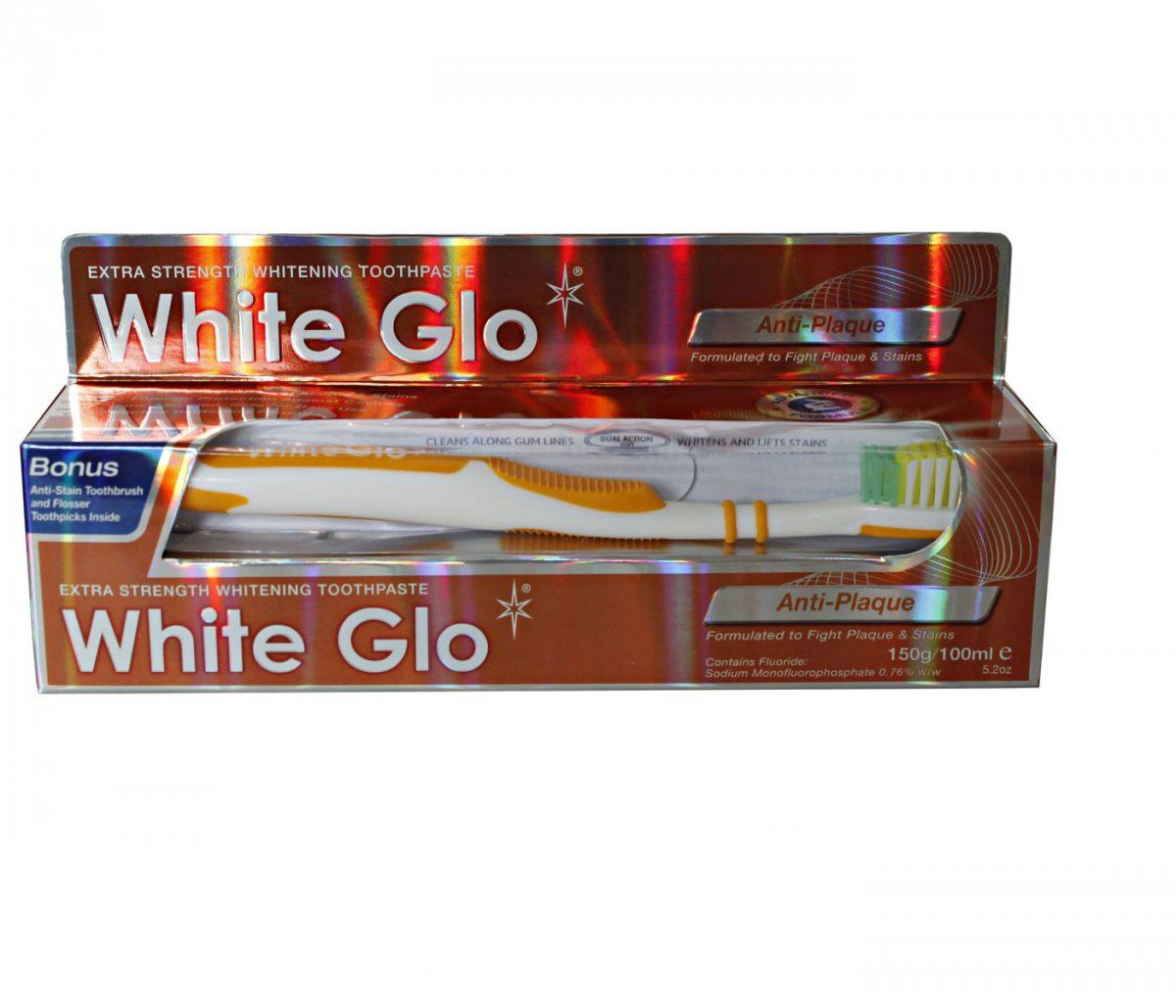 White Glo Anti Plaque - pasta plus szczoteczka gratis Pasta WhiteGlo Anti Plaque