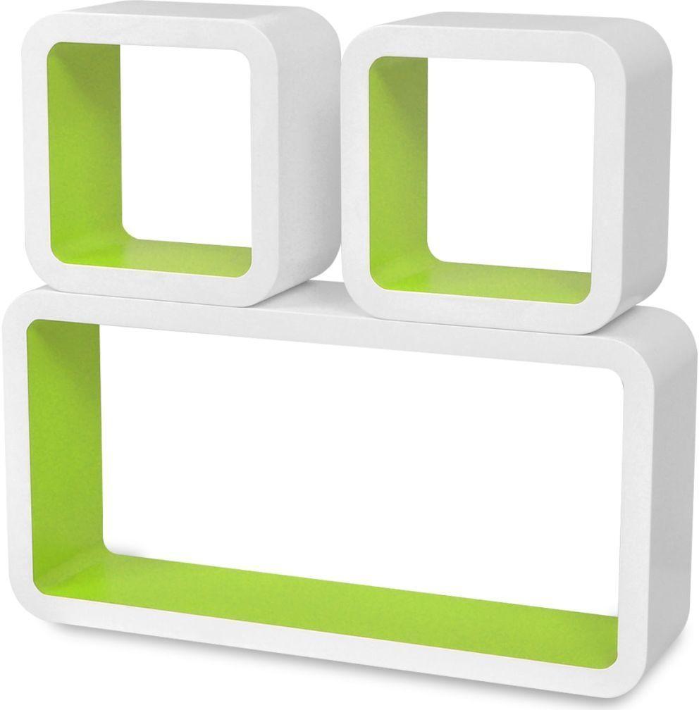 Zestaw biało-zielonych półek ściennych - Lara 2X