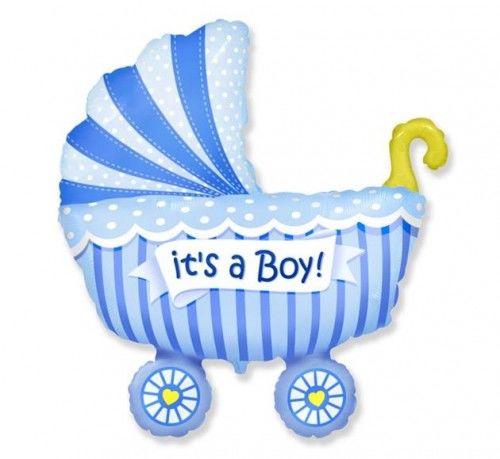 Balon foliowy FX Wózek dziecięcy dla chłopca, niebieski