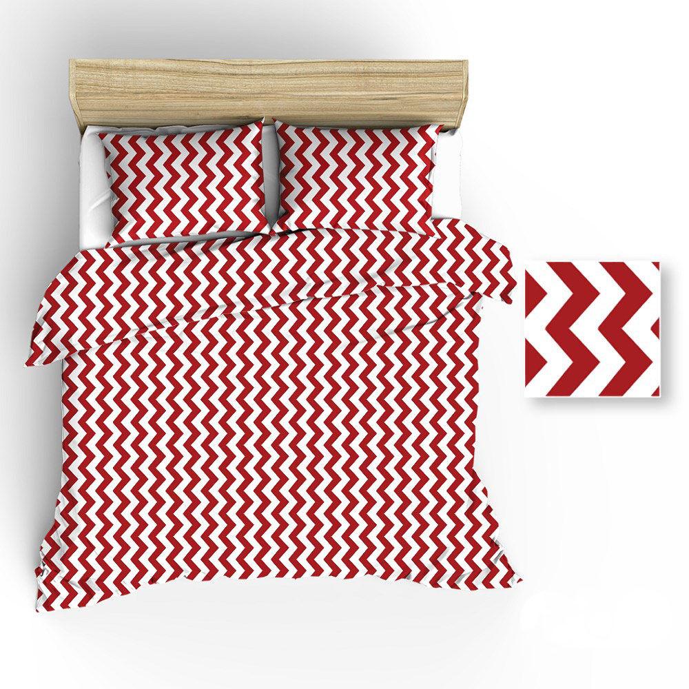 Pościel bawełniana 160x200 R019 biała zygzak czerwony 64N