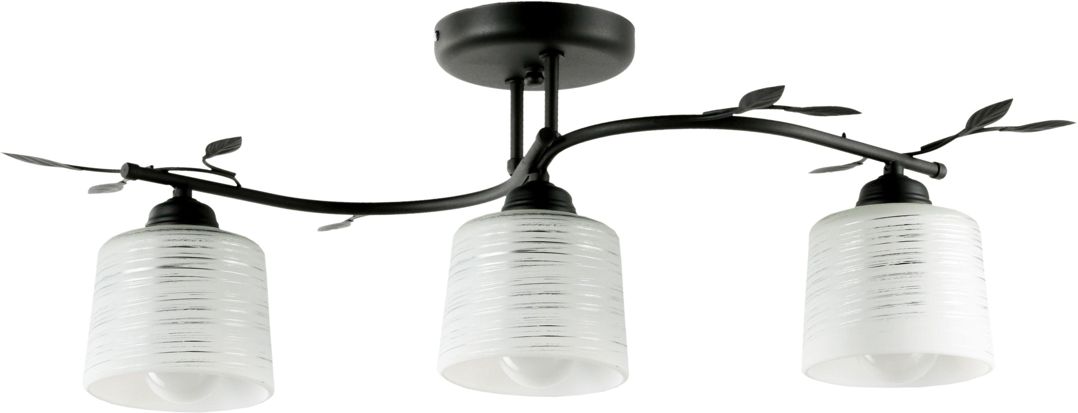 Lampex Viola 3A czarna 648/3A CZA plafon lampa sufitowa klasyczna metalowa rama dekoracyjne listki klosz szkło E27 3x 60W 70cm