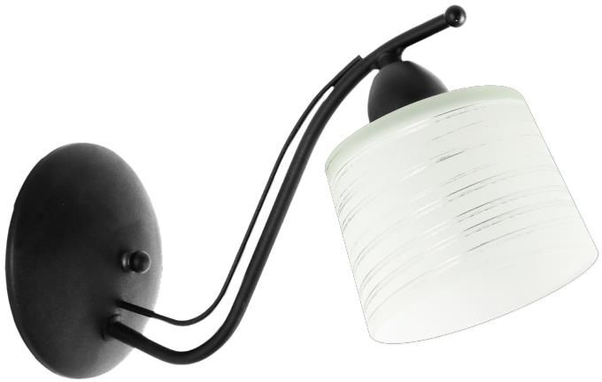 Lampex Viola A czarny 648/KA CZA kinkiet lampa ścienna klasyczna metalowa rama klosz szkło wzór E27 1x60W 16cm