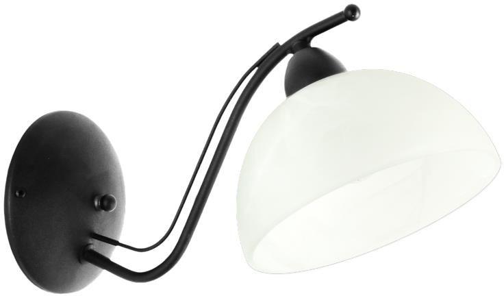 Lampex Viola B czarny 648/KB CZA kinkiet lampa ścienna szklany klosz przyozdobiony ciekawym wzorem E27 1 60W 16cm