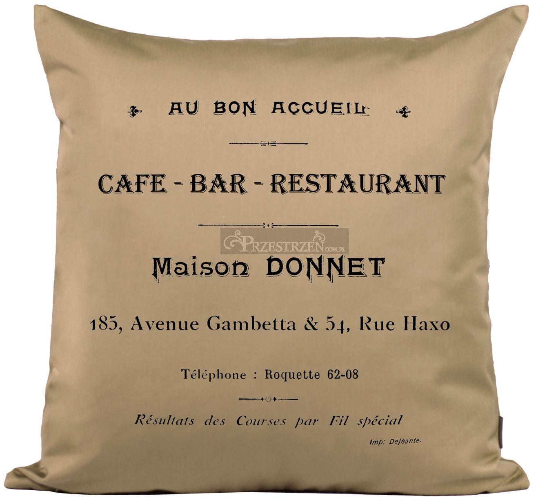 PODUSZKA OZDOBNA FRENCH HOME - CAFE BAR BEŻ