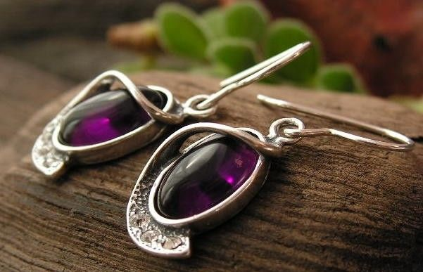 Penelopa - srebrne kolczyki z ametystem i kryształkami
