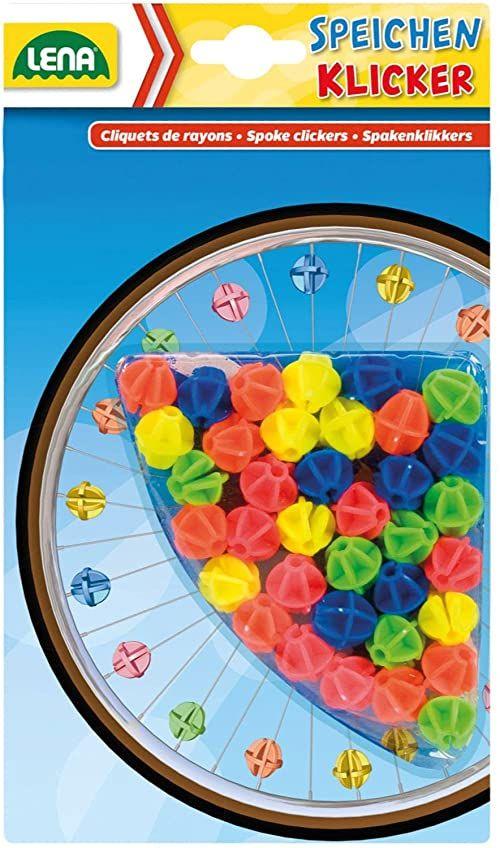 Lena 61094  36 sztuk klipsów do szprychy, perły do roweru, trójkołowego lub skutera, klipsy do szprychy, akcesoria do roweru dziecięcego, kolorowe klipsy z tworzywa sztucznego, dla dzieci od 3 lat