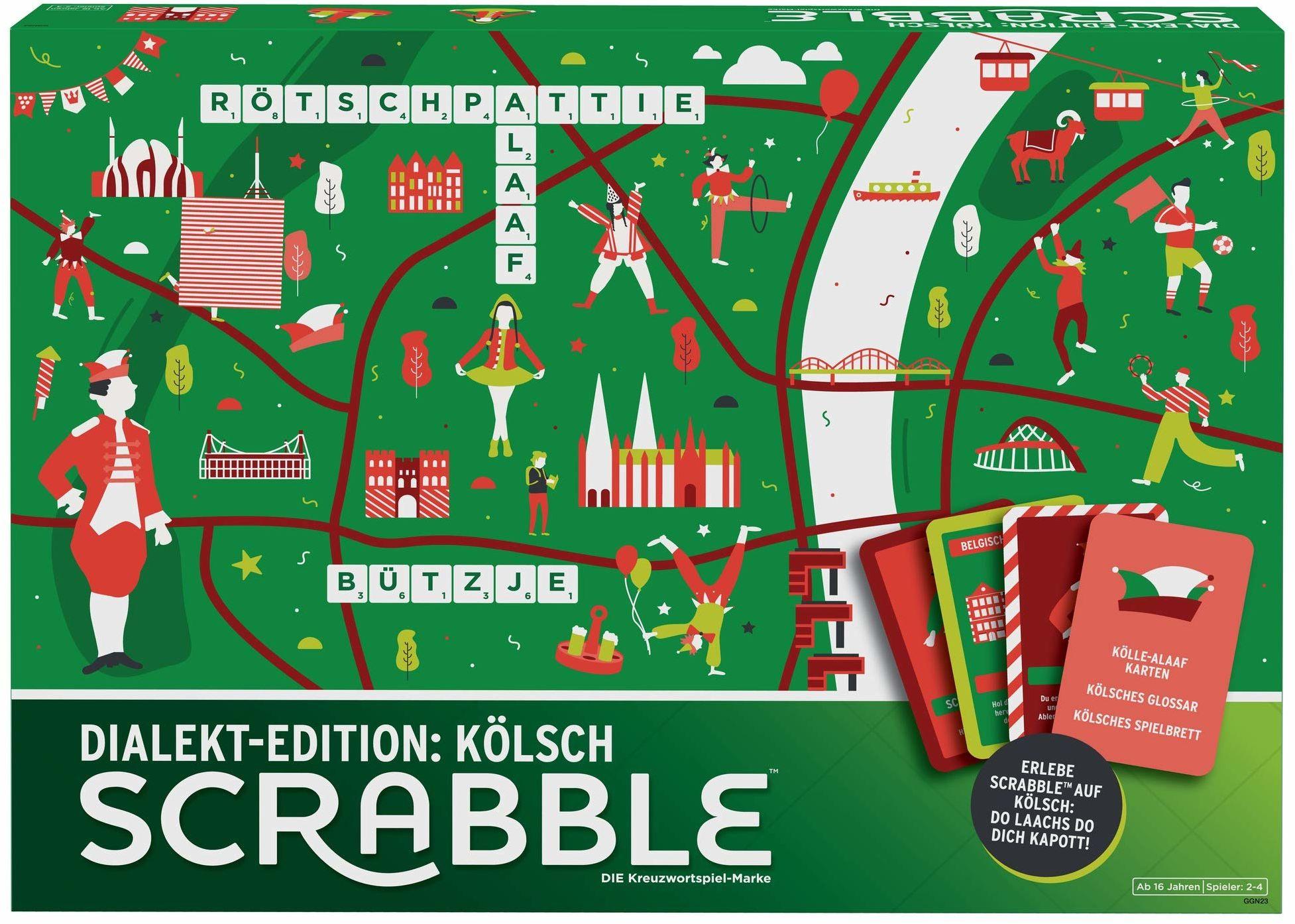 Mattel Games GGN23 - Scrabble Dialekt Edition Köln gra słowowa i planszowa odpowiednia dla 2-4 graczy, gier towarzyskich i słownych od 16 roku życia