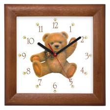 Zegar drewniany kwadrat miś
