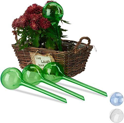 Relaxdays 10023226_53 Kule Do Nawadniania, Zestaw 4-Częściowy, Dozowane Nawadnianie, 2 Tygodnie, Chowane Do Roślin, Dekoracja, Tworzywo Sztuczne, Zielone