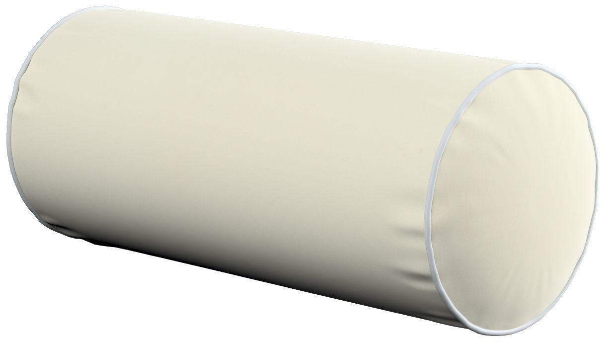 Poduszka wałek prosty z lamówką, śmietankowa biel, Ø16  40 cm, Velvet
