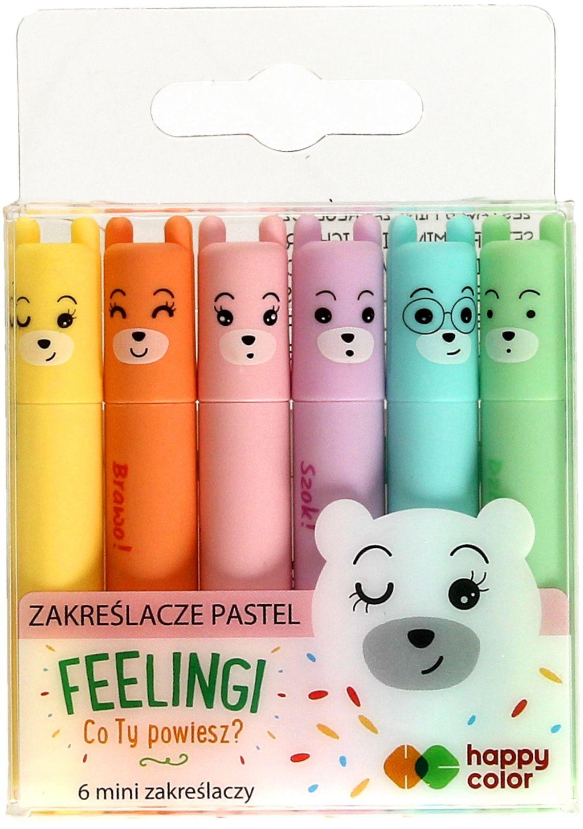 Zakreślacz 6kol mini pastel Feelingi Happy Color