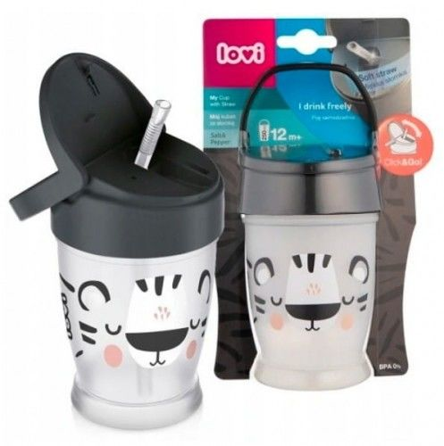 Lovi Kubek ze słomką Junior Salt&Pepper 250ml