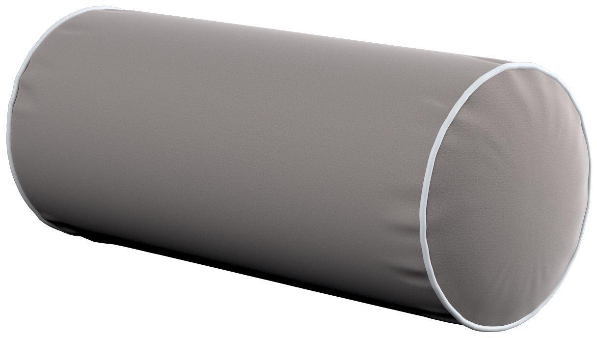 Poduszka wałek prosty z lamówką, gołębi szary, Ø16  40 cm, Velvet