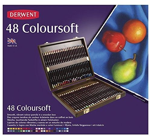 Zestaw Kredek Derwent Coloursoft 48 Kolorów (Kaseta Drewniana)