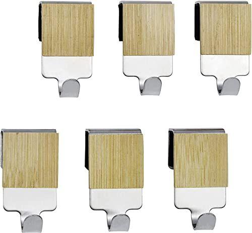 WENKO Hak z bambusem Premium  zestaw 6 haczyków kuchennych do relingu, stal nierdzewna, 2 x 4 x 2,5 cm, srebrny matowy