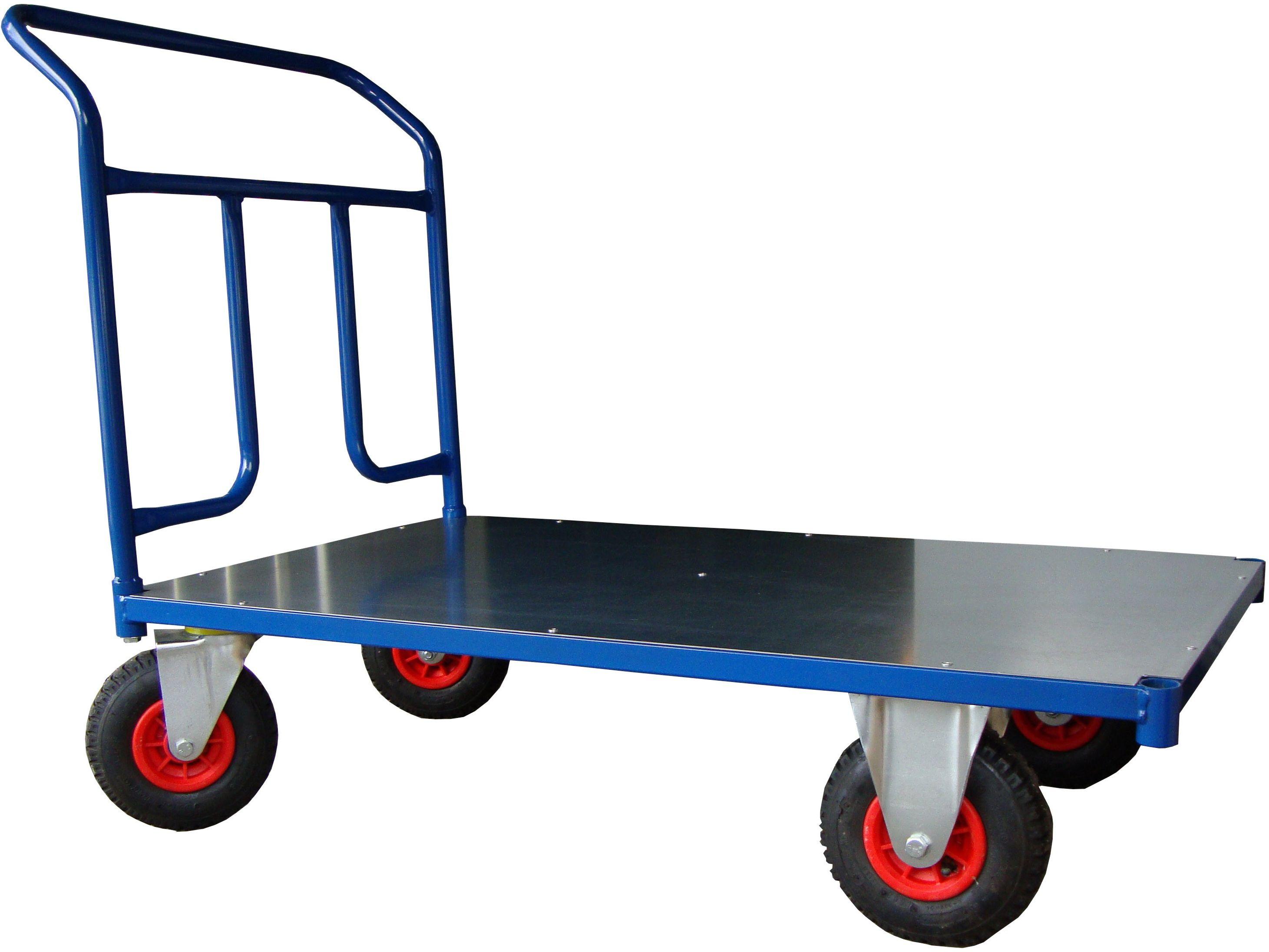 Wózek platformowy magazynowy, poręcz przykręcana, 250 kg