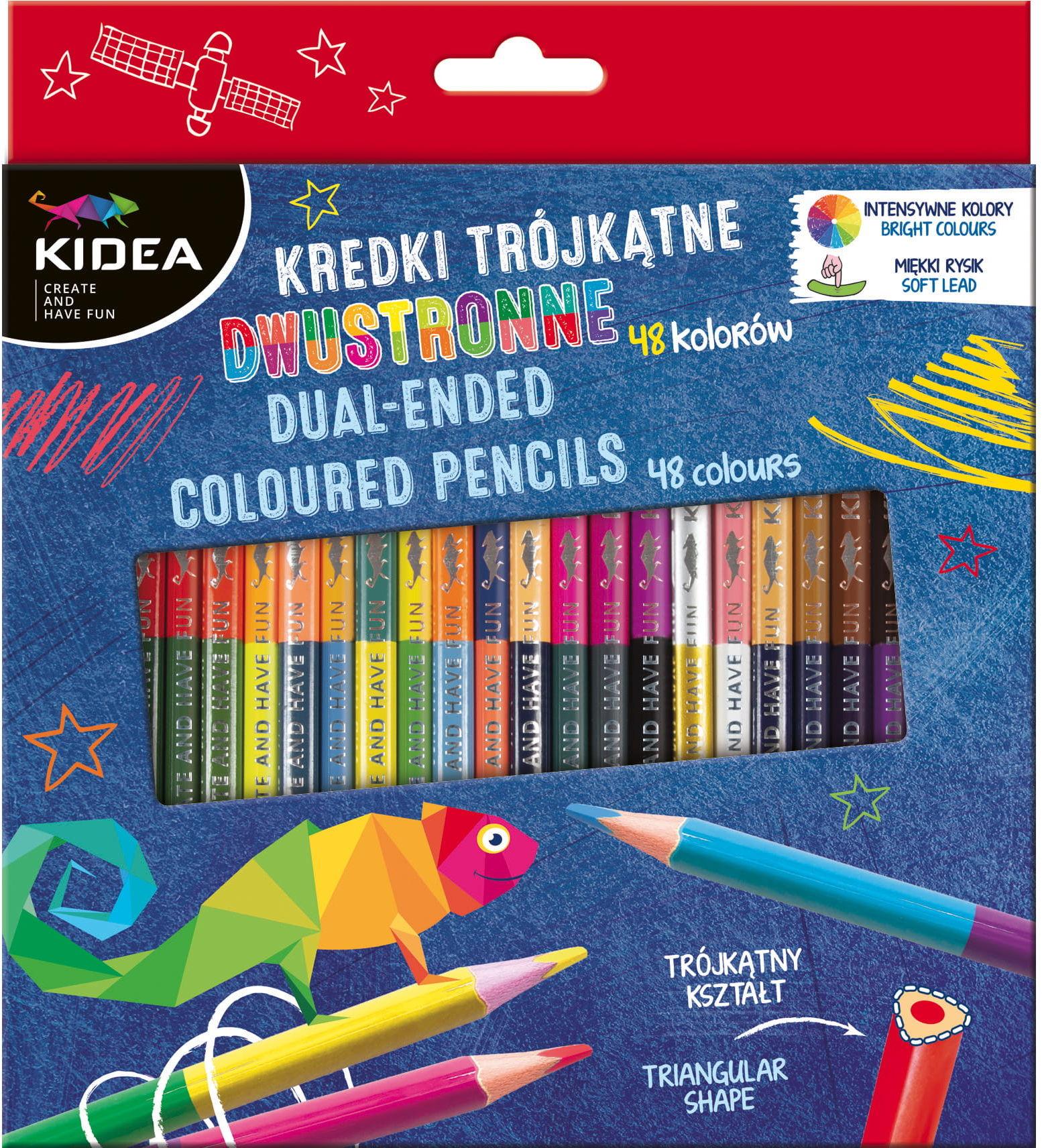 Kredki trójkątne dwukolorowe 48 kolorów / 24 sztuki KIDEA