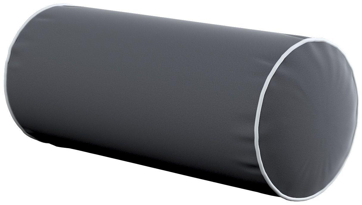 Poduszka wałek prosty z lamówką, grafitowy szary, Ø16  40 cm, Velvet