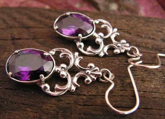 Violet - srebrne kolczyki z ametystem
