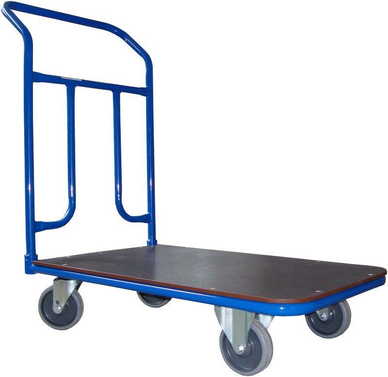 Wózek platformowy magazynowy, poręcz spawana, 200 kg