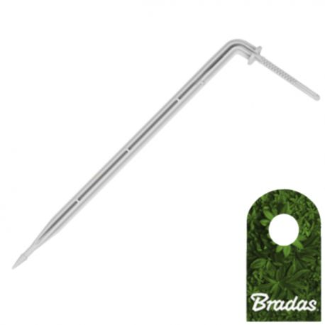 Długi kątowy kroplownik patykowy PREMIUM 2,2l/h ze wtykiem na wąż 3x5mm Bradas 0179