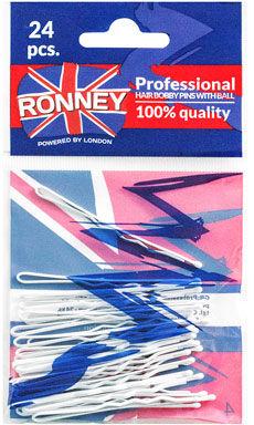 Ronney Profesjonalne wsuwki do włosów Białe, z kulką 24 szt.