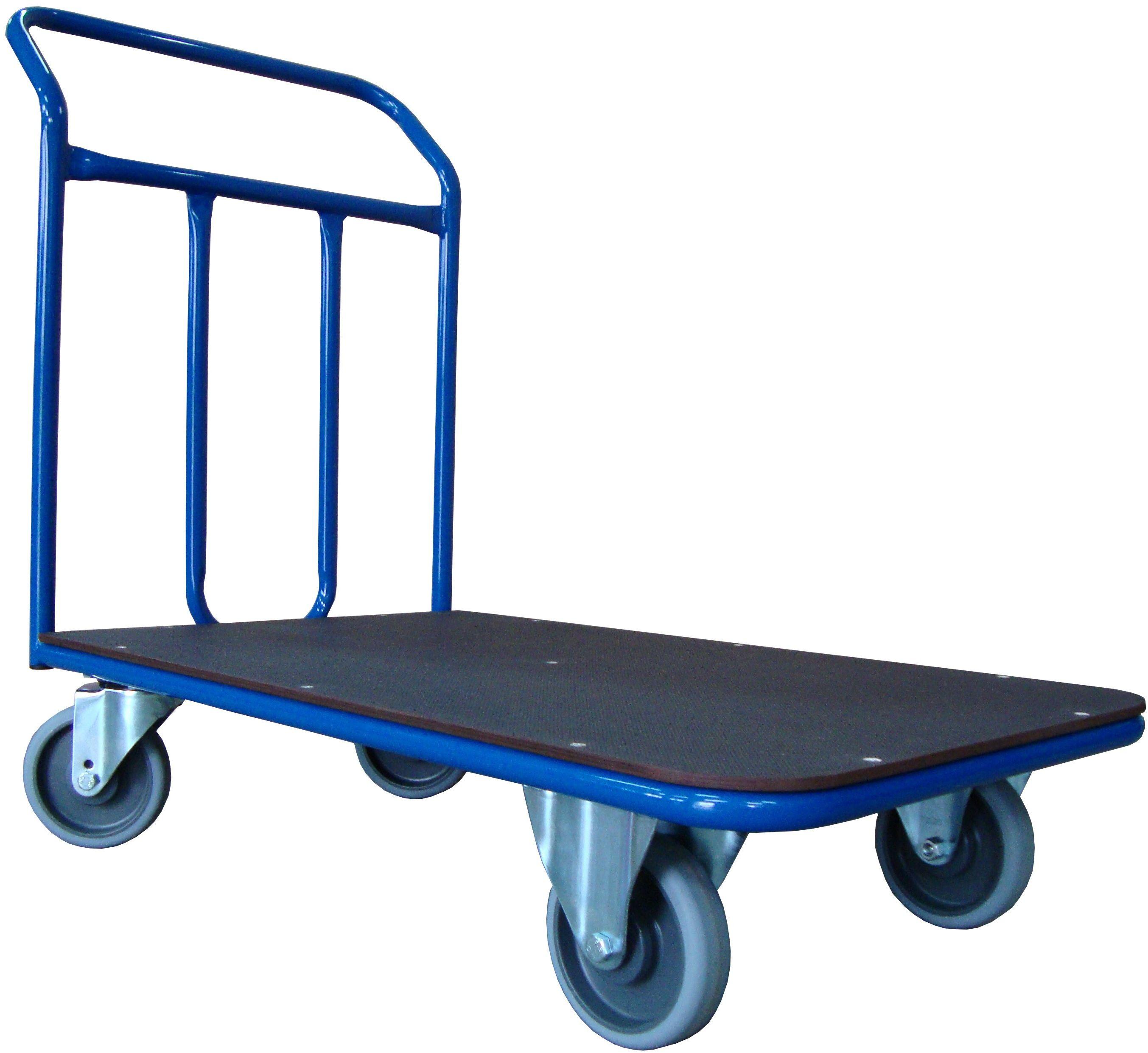 Wózek platformowy magazynowy, poręcz spawana, 300 kg