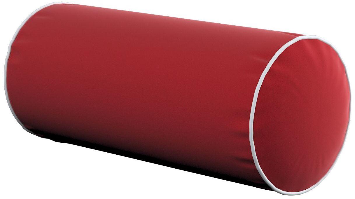 Poduszka wałek prosty z lamówką, intensywna czerwień, Ø16  40 cm, Velvet