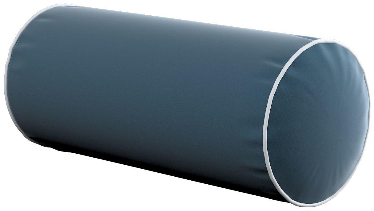 Poduszka wałek prosty z lamówką, pruski błękit, Ø16  40 cm, Velvet
