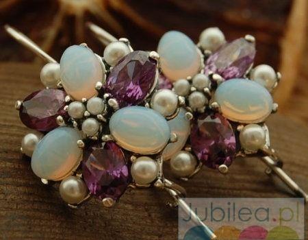 Pawie oko - srebrne kolczyki perły ametysty opale